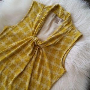 Banana Republic Yellow Trellis Print Dressy Tank